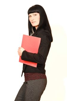 Free Business Woman With Folder. Stock Images - 5810044