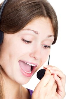 Free Cute Brunette With A Headset Royalty Free Stock Photos - 5811498