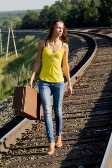 Walks By Rail Royalty Free Stock Photos