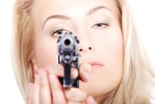 Free Cute Blonde With A Gun Stock Photography - 5811652