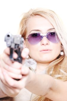 Free Cute Blonde With A Gun Royalty Free Stock Photos - 5811668