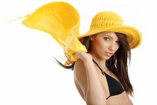Free Girl In Yellow Hat And Bikini Royalty Free Stock Image - 5812536