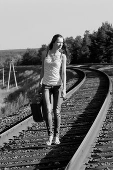 Walks By Rail Royalty Free Stock Photography