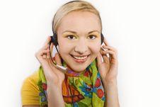 Free Beautiful Customer Representative Girl With Head Stock Image - 5812651