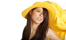 Free Sexy Girl In Yellow Hat And Bikini Stock Image - 5812691