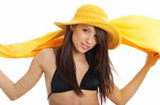 Free Sexy Girl In Yellow Hat And Bikini Stock Photo - 5812700