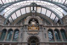 Free Ancient Clock In Antwerp Railway Station Stock Photo - 5814190