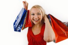 Happy Smiling Girl Shopping Stock Images