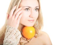 Free Lovely Blonde With An Orange Stock Images - 5814874
