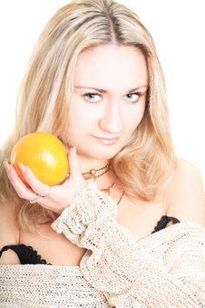 Free Lovely Blonde With An Orange Royalty Free Stock Images - 5815109