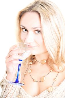 Free Lovely Blonde With A Glass Stock Photography - 5815222