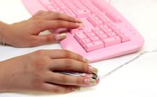 Hands Of The Girl On Keyboard And Mouse Royalty Free Stock Image