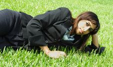 Free Businesswoman Napping On Grass Stock Images - 5817244