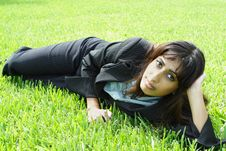 Free Businesswoman Napping On Grass Stock Photography - 5817252