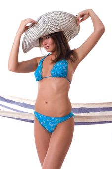 Sexy Woman Wearing Bikini With Summer Hat Stock Photography