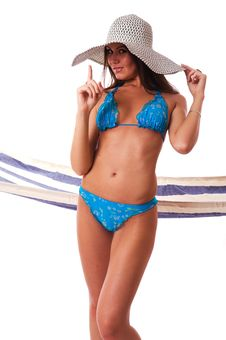 Free Sexy Girl Wearing Bikini With Summer Hat. Stock Photography - 5818832