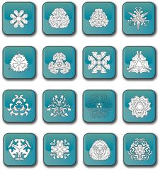 Free Glossy Blue Snowflake Icons Stock Photo - 5818850