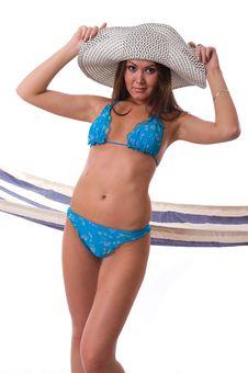 Sexy Woman Wearing Bikini With Summer Hat