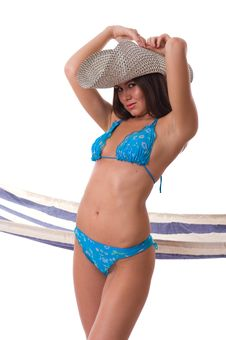 Sexy Woman Wearing Bikini With Summer Hat Stock Photos