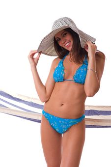 Sexy Woman Wearing Bikini With Summer Hat Royalty Free Stock Images