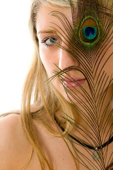 Free Beautiful Girl, Peacock A Feather Closes Eye Royalty Free Stock Image - 5819896