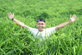 Free Man In The Green Grass Stock Photo - 5820230