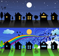 Free Little Street In Day And Night Stock Image - 5822541