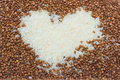 Free Vegetarian Concept - Heart From Buckwheat And Rice Stock Photo - 5823120