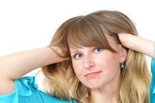 Free Nice Blue-eyed Girl Adjust Her Hair Stock Images - 5822184