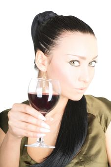 Free Sexy Lady With A Glass Of Red Wine Stock Image - 5822261