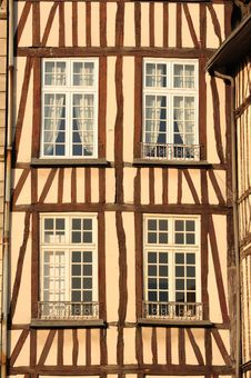 France Rouen: Typical Facade Of Normandy Houses Royalty Free Stock Photos