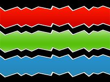 Zig Zag Waves - Various Colors On Black Stock Photography