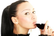 Free Sexy Lady With A Glass Of Red Wine Stock Image - 5822931