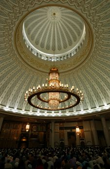 Chandelier And Decorated Ceiling