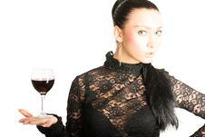 Free Sexy Lady With A Glass Of Red Wine Stock Images - 5823084