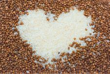 Vegetarian Concept - Heart From Buckwheat And Rice Stock Photo