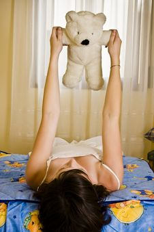 Free Young Girl With Teddy Stock Images - 5824764