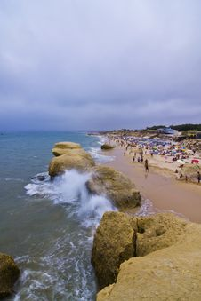 Free Storm Over Algarve Tourists Royalty Free Stock Photography - 5825177