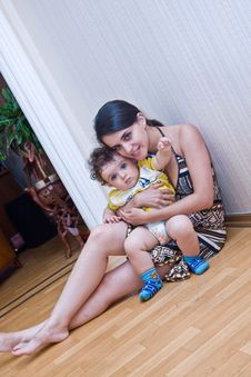 Free Young Mum With The Son Sit On A Floor Of A Room Stock Image - 5826011