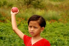 Girl Throwing The Ball. Stock Photography
