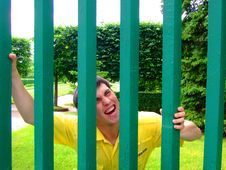 Behind A Green Fence Royalty Free Stock Image