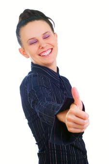 Cheerful Businesswoman Showing Thumbs Up Royalty Free Stock Images