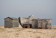 Dungeness, Shacks And A Boat Royalty Free Stock Photo