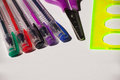 Free Colored Pens, Scissors And Ruler Royalty Free Stock Images - 58293719