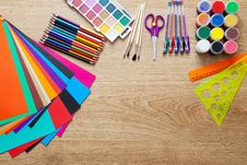 Free Set Of School Supplies Royalty Free Stock Image - 58293626