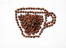 Free Cup Of Coffee From Coffee Beans Royalty Free Stock Images - 58293729