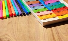 Colored Markers And Plasticine Royalty Free Stock Images