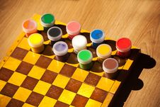 Free Colourful Watercolor Paint On The Chessboard Royalty Free Stock Image - 58293756