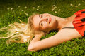 Free Girl Relaxing On A Meadow Royalty Free Stock Photography - 5837647