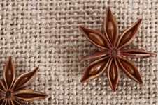 Anis Star On Burlap Canvas Background Close-up Royalty Free Stock Image